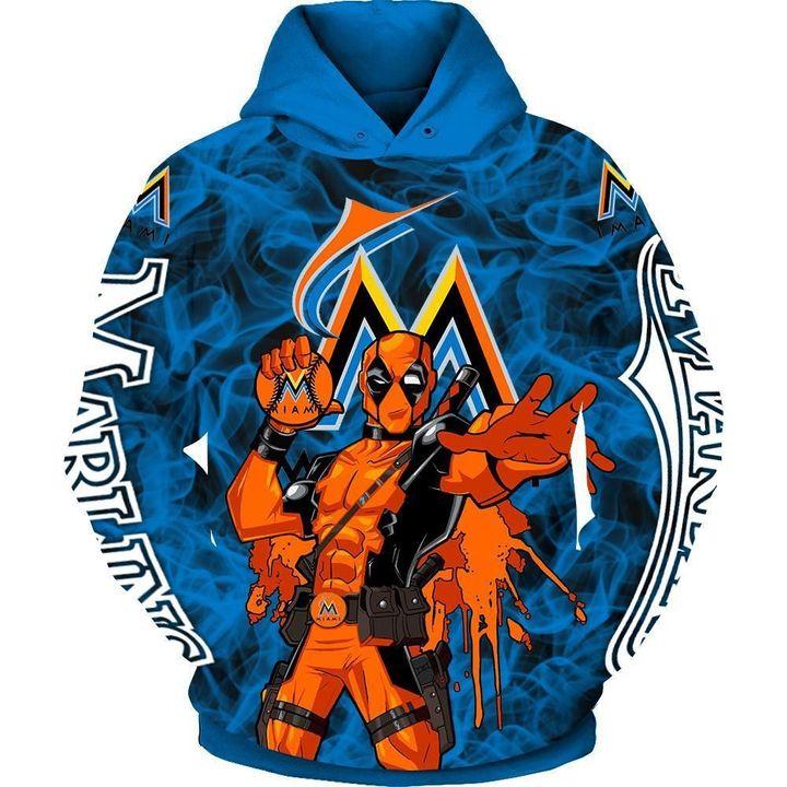Deadpool Miami marlins 3d hoodie 3