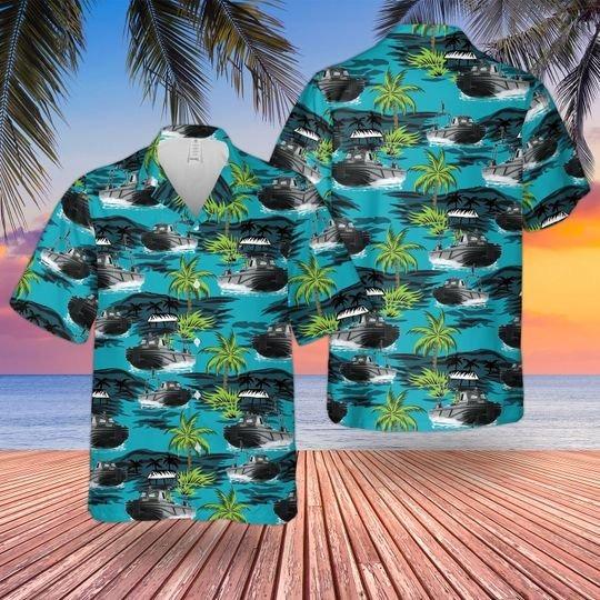 British army combat support boat hawaiian shirt 1