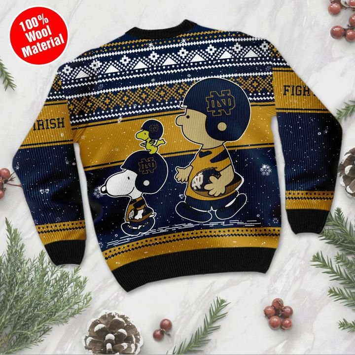 Snoopy and Charlie Brown Notre Dame Fighting Irish Ugly Christmas Sweater 3