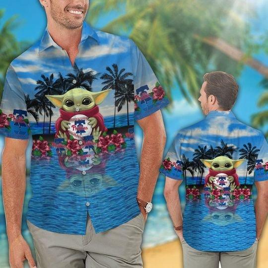 16 Philadelphia Phillies And Baby Yoda Hawaiian Shirt Short 1
