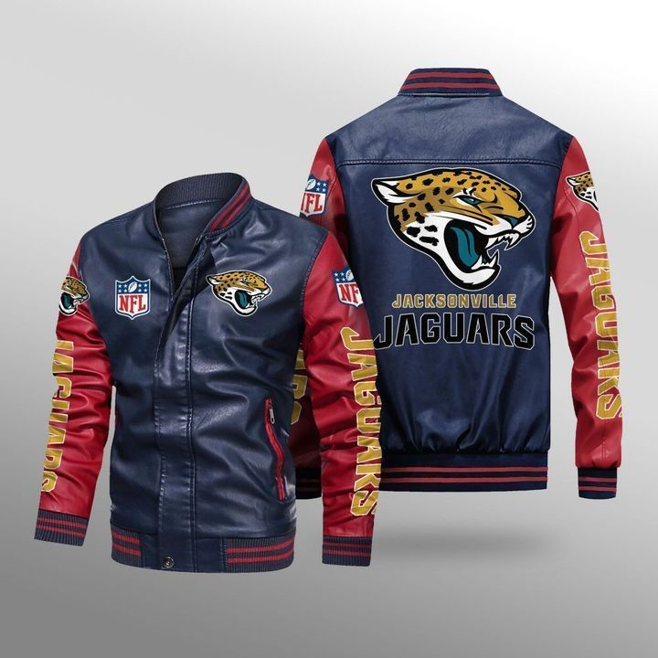 Jacksonville Jaguars Leather Bomber Jacket 4