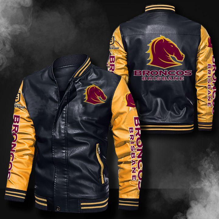 Brisbane Broncos Leather Bomber Jacket 3