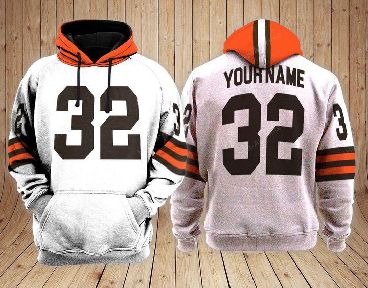 Cleveland browns custom name baseball hoodie 1