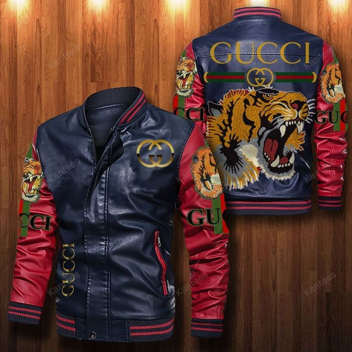 Gucci Tiger Leather Bomber Jacket 4