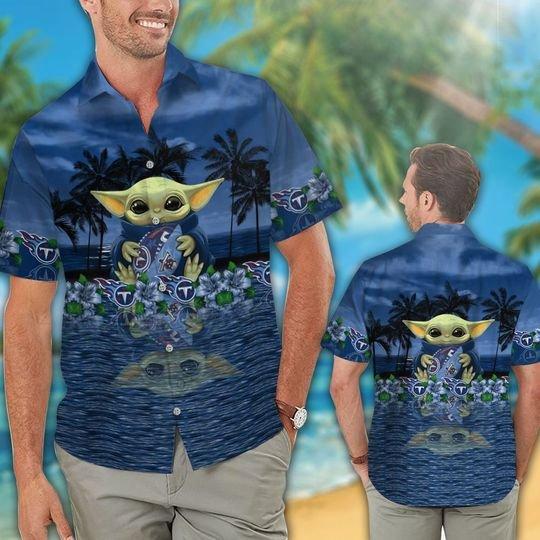 25 Tennessee Titans And Baby Yoda Hawaiian Shirt Short 1