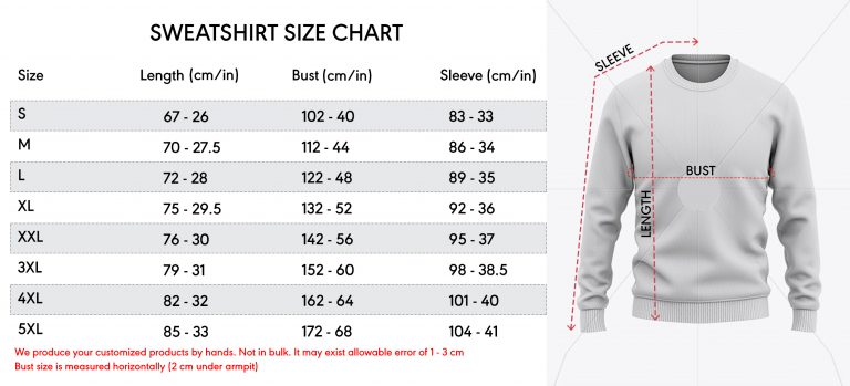 sweatshirt 3d size chart