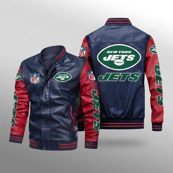 New York Jets Leather Bomber Jacket 4