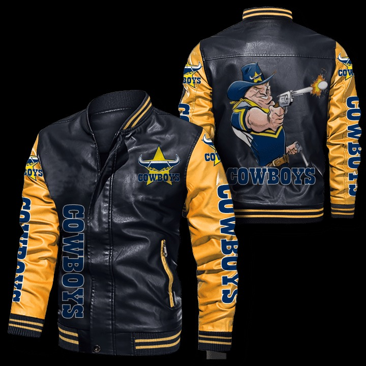 North Queensland Cowboys Leather Bomber Jacket 3