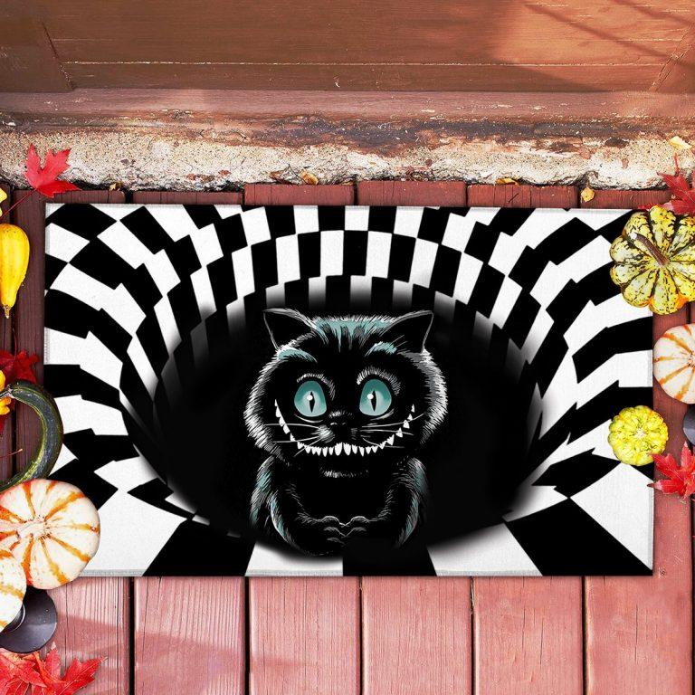 Black cat Halloween 3d illusion doormat 1