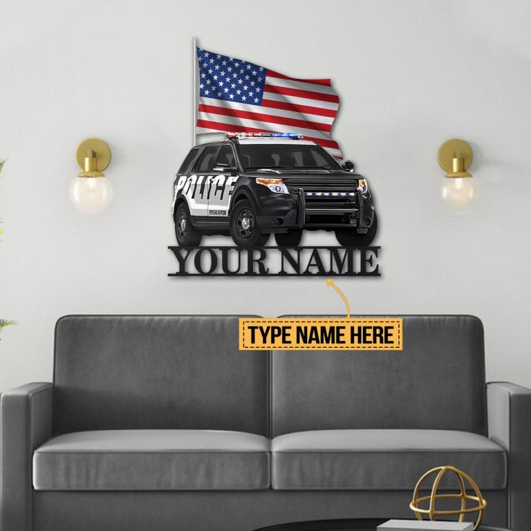 SUV Police American flag custom personalized metal sign 4