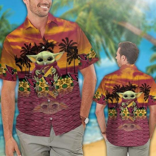 29 Arizana Cardinals And Baby Yoda Hawaiian Shirt Short 1
