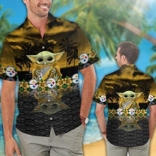 27 Pittsburgh Steelers And Baby Yoda Hawaiian Shirt Short 1
