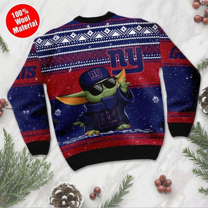 New York Giants Baby Yoda Ugly Christmas Sweater 3