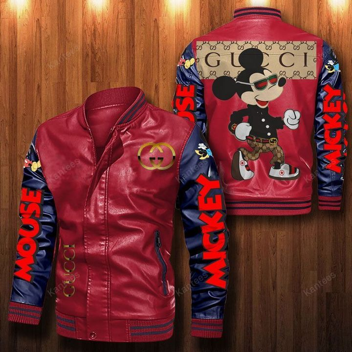 Mickey Gucci Leather Bomber Jacket 2