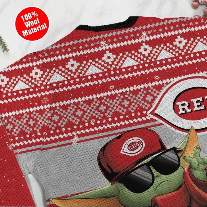 Cincinnati Reds Baby Yoda Ugly Christmas Sweater 4