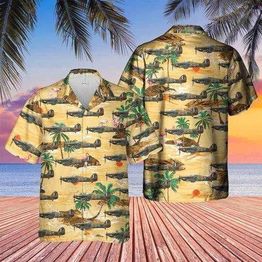 Royal air force hawker hurricane mk2c hawaiian shirt