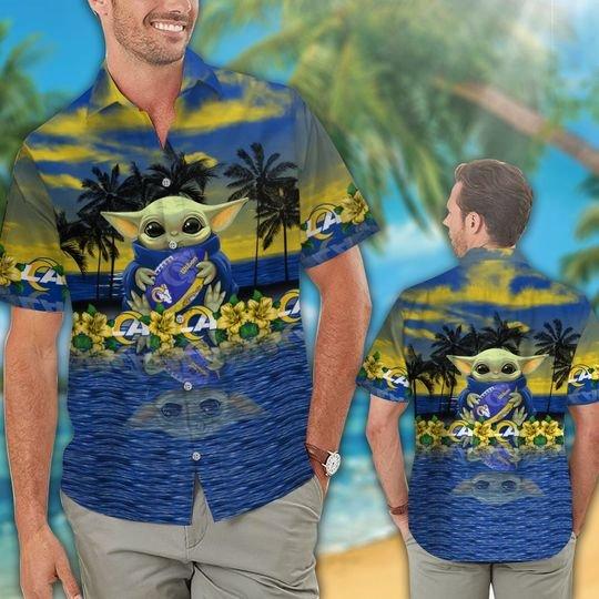 15 Los Angeles Rams And Baby Yoda Hawaiian Shirt Short 1