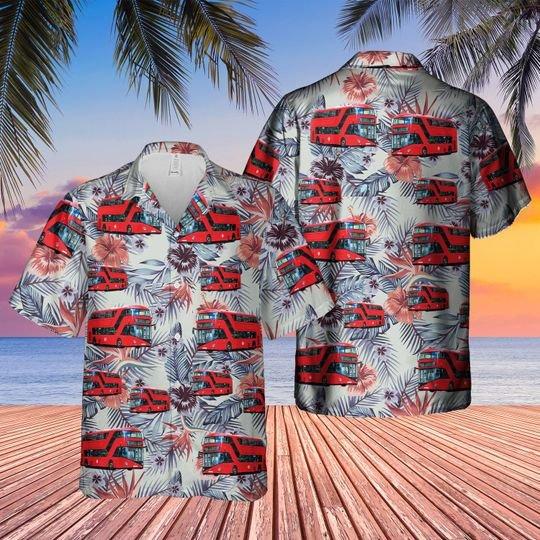 Uk Double Decker Bus New Routemaster Hawaiian Shirt