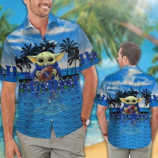 24 Duke Blue Devils And Baby Yoda Hawaiian Shirt Short 1