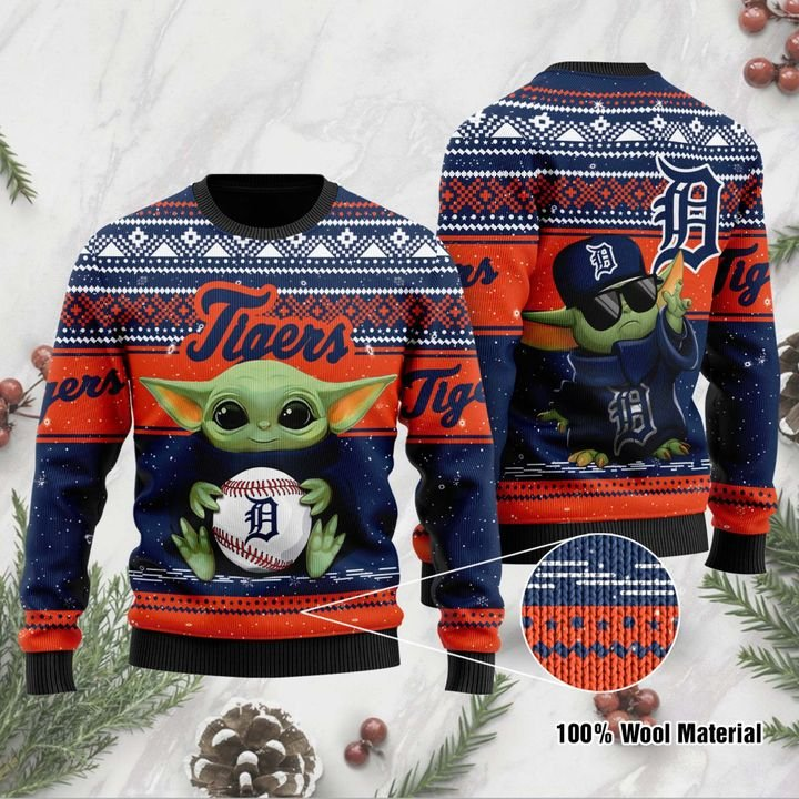 Detroit Tigers Baby Yoda Ugly Christmas Sweater 1