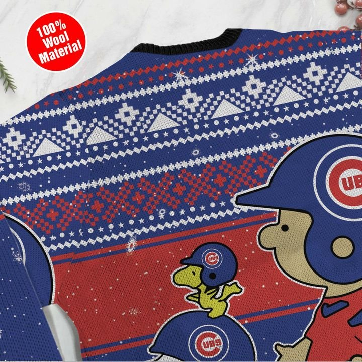 Chicago Cubs Snoopy and Charlie Brown Ugly Christmas Sweater 4