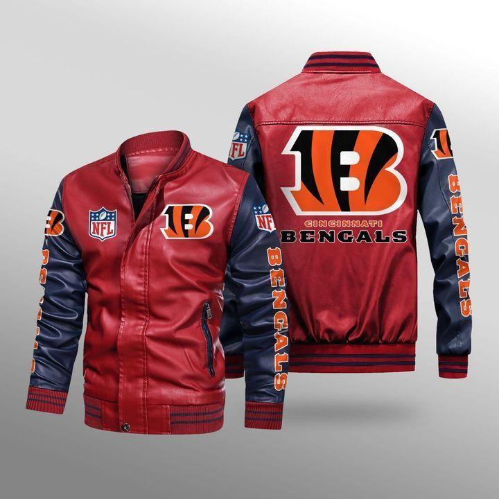 Cincinnati Bengals Leather Bomber Jacket 2
