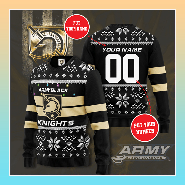 Army Black Knights Custom Name Christmas Sweater1