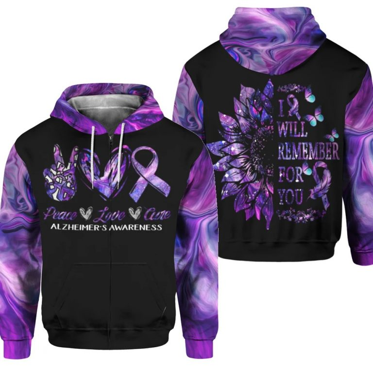 Alzheimer Awareness Peace Love Cure I will remember for you 3d shirt hoodie 1