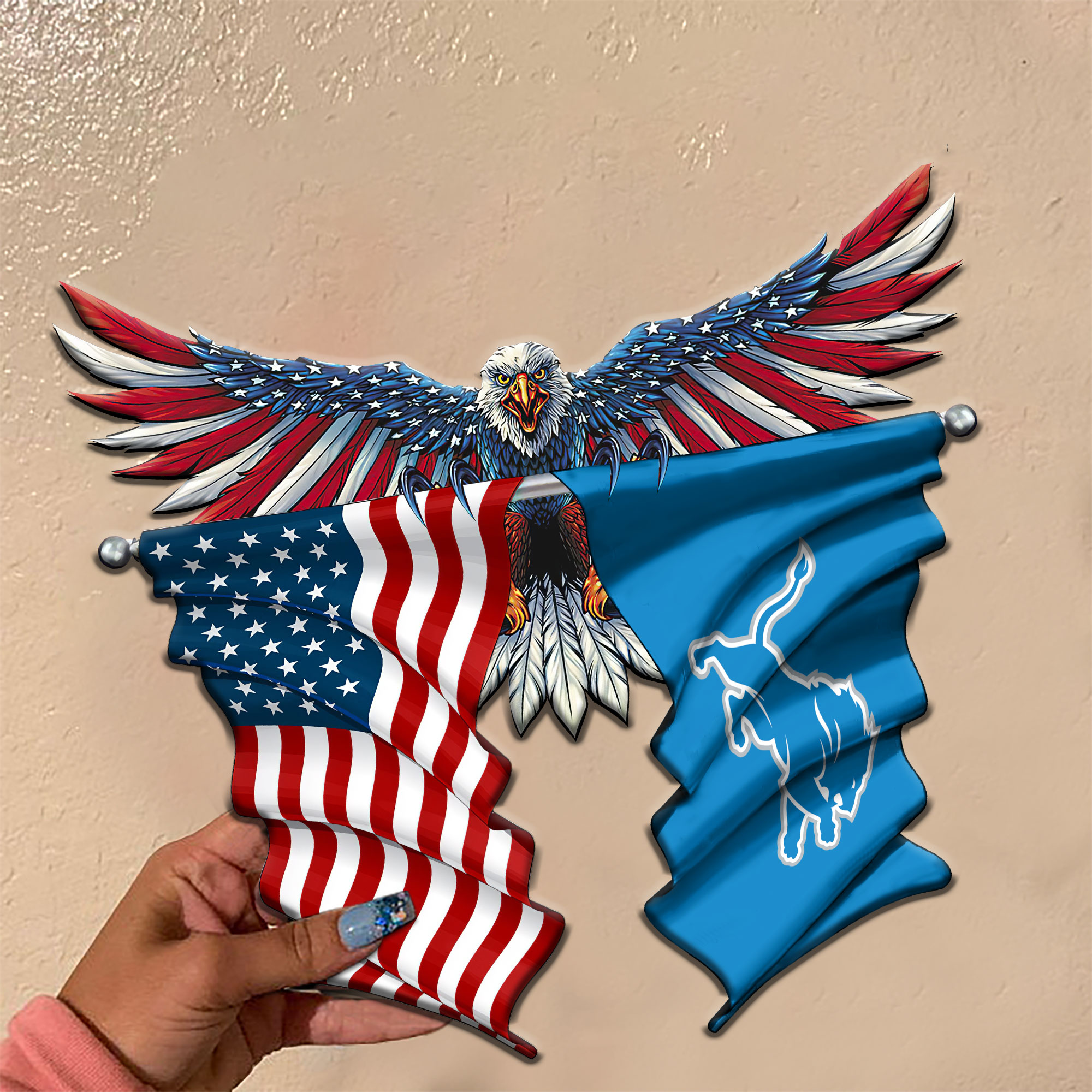American flag eagle Detroit Lions flag metal sign 2