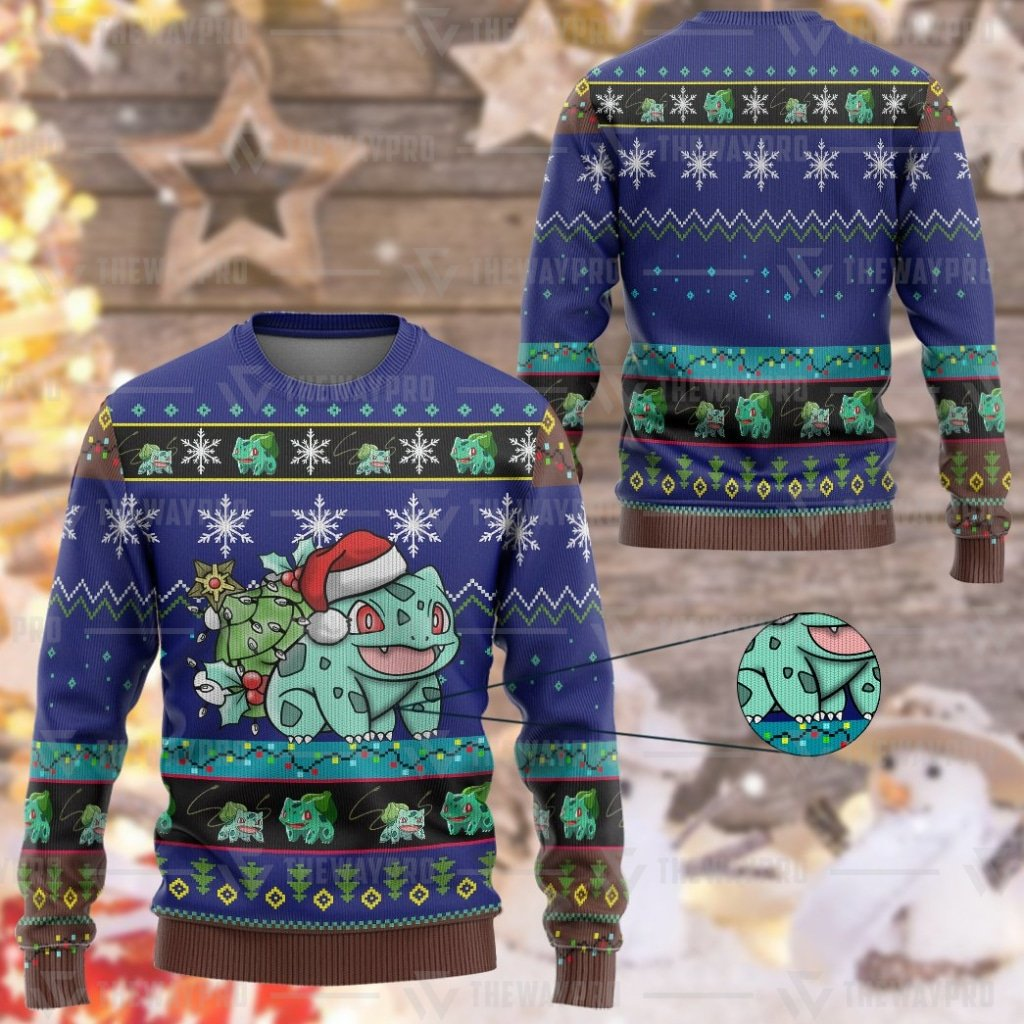 Anime Pokemon Bulbasaur Custom Imitation Knitted Sweatshirt