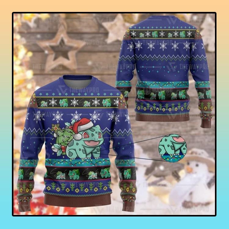 Anime Pokemon Bulbasaur Custom Imitation Knitted Sweatshirt1
