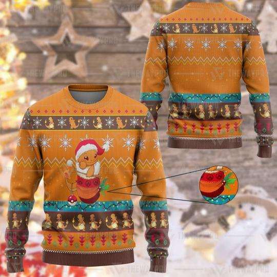 Anime Pokemon Charmander Custom Imitation Knitted Sweatshirt