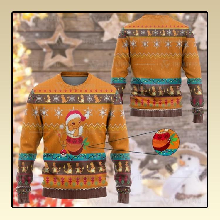 Anime Pokemon Charmander Custom Imitation Knitted Sweatshirt1