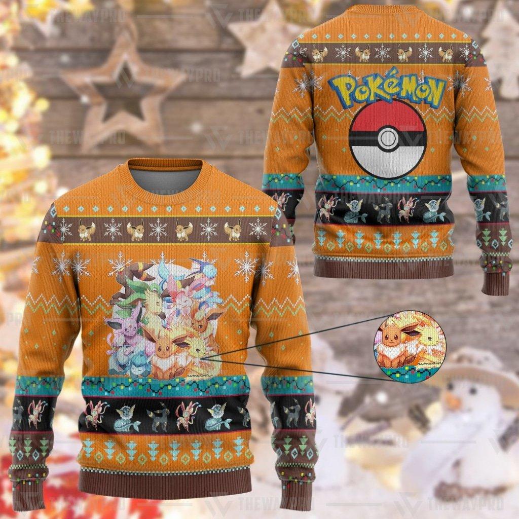 Anime Pokemon Eevee and Eeveelutions Custom Imitation Knitted Thicken Sweatshirt