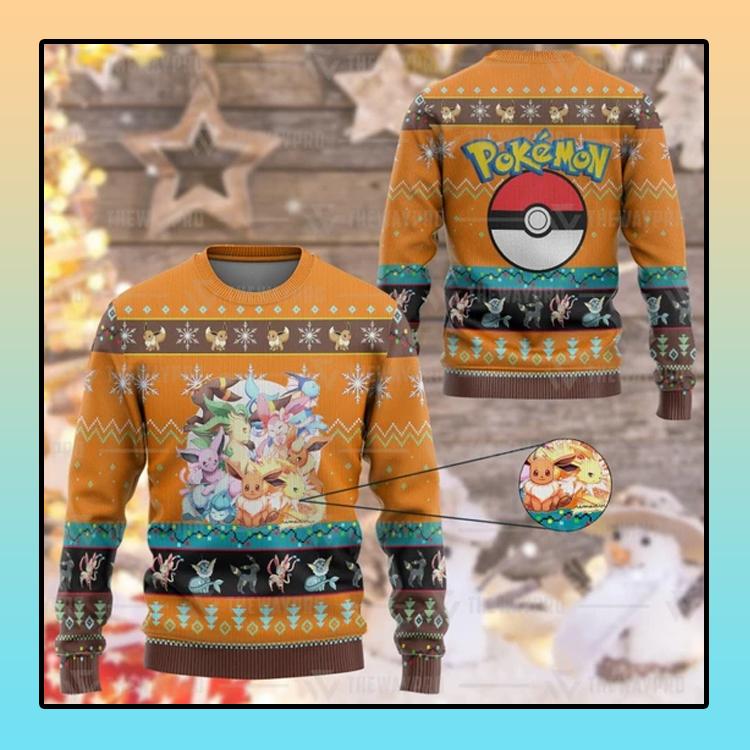 Anime Pokemon Eevee and Eeveelutions Custom Imitation Knitted Thicken Sweatshirt1