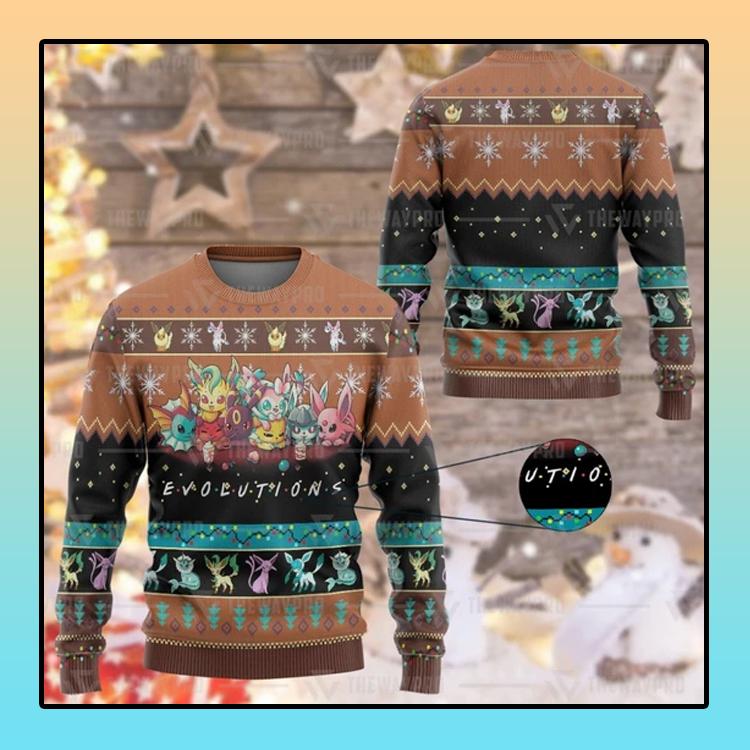 Anime Pokemon Evolutions Custom Imitation Knitted Thicken Sweatshirt1