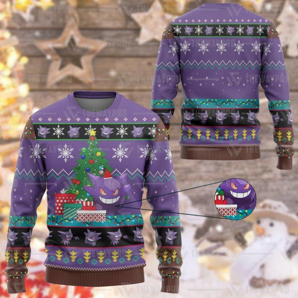 Anime Pokemon Gengar Custom Imitation Knitted Thicken Sweatshirt