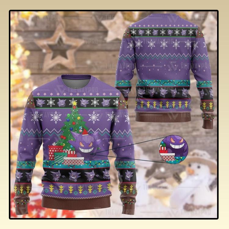 Anime Pokemon Gengar Custom Imitation Knitted Thicken Sweatshirt1