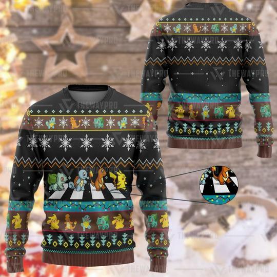 Anime Pokemon Road Crossing Custom Christmas Ugly Imitation Knitted Sweatshirt