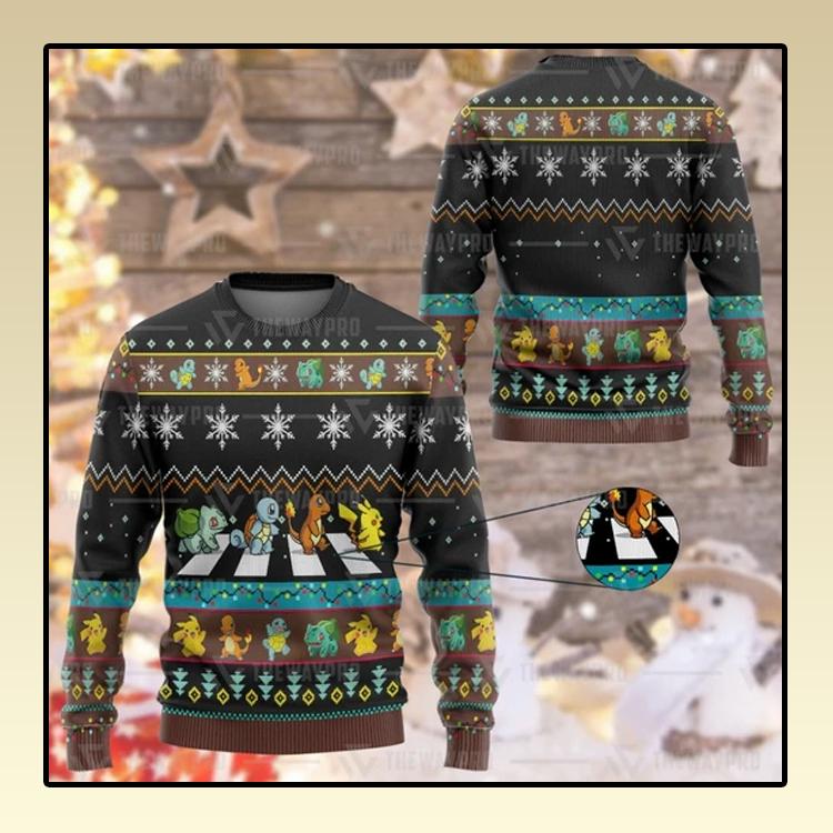 Anime Pokemon Road Crossing Custom Christmas Ugly Imitation Knitted Sweatshirt1