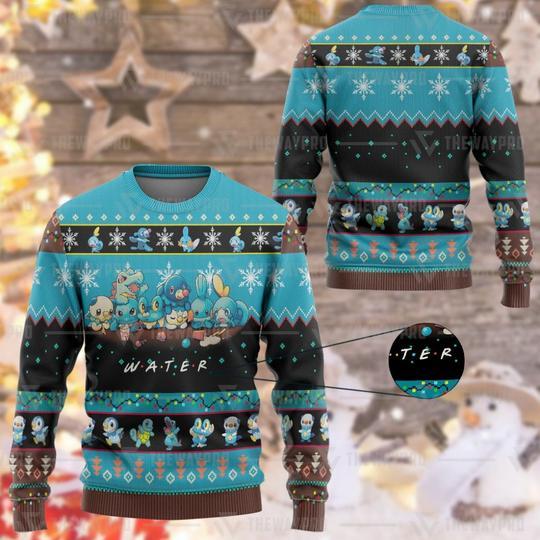 Anime PokemonM Water Custom Imitation Knitted Thicken Sweatshirt