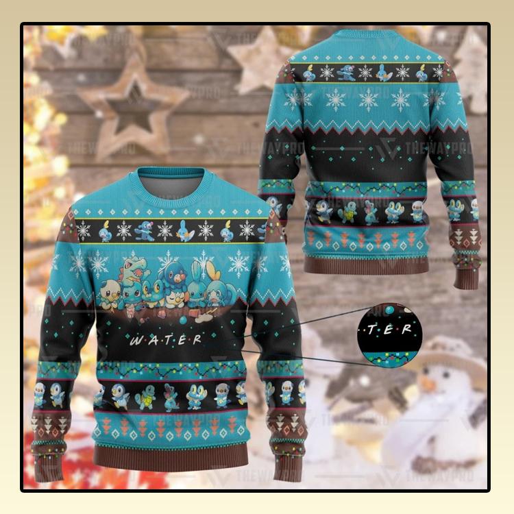 Anime PokemonM Water Custom Imitation Knitted Thicken Sweatshirt1