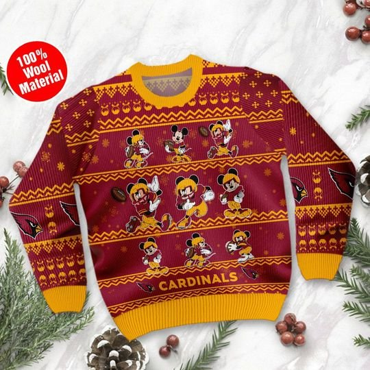 Arizona Cardinals Mickey Mouse Ugly Sweater1