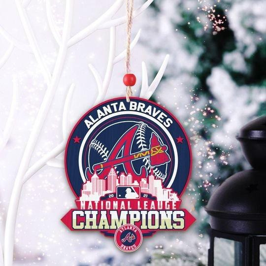 Baby Yoda Atlanta Braves National League Champions Wooden Ornament