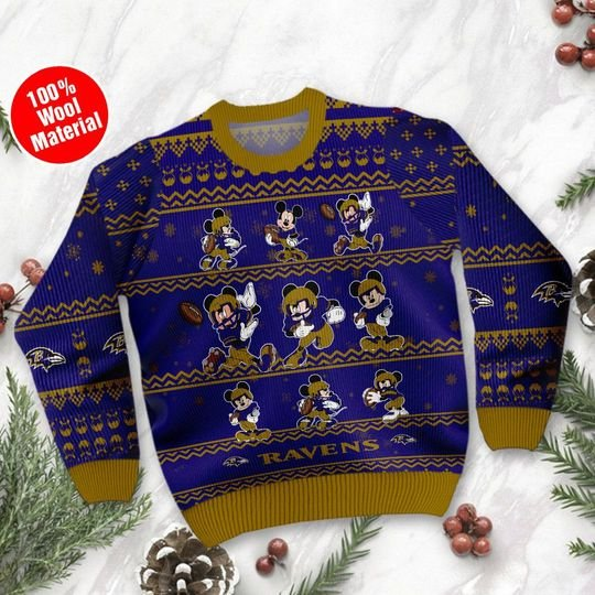 Baltmore Ravens Mickey Sweatshirt Sweater1
