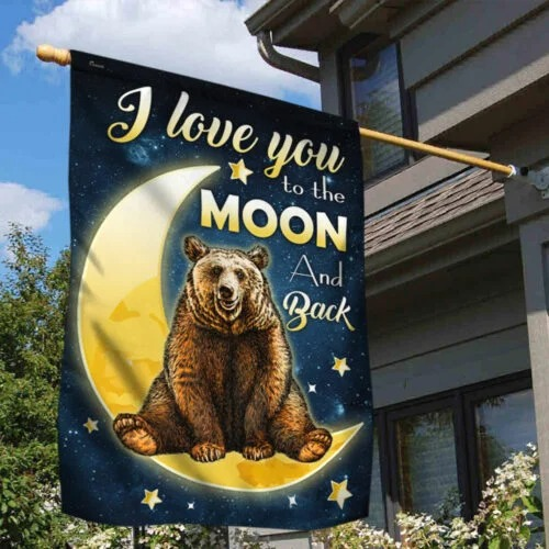 Bear and Moon I Love You To The Moon And Back flag 3