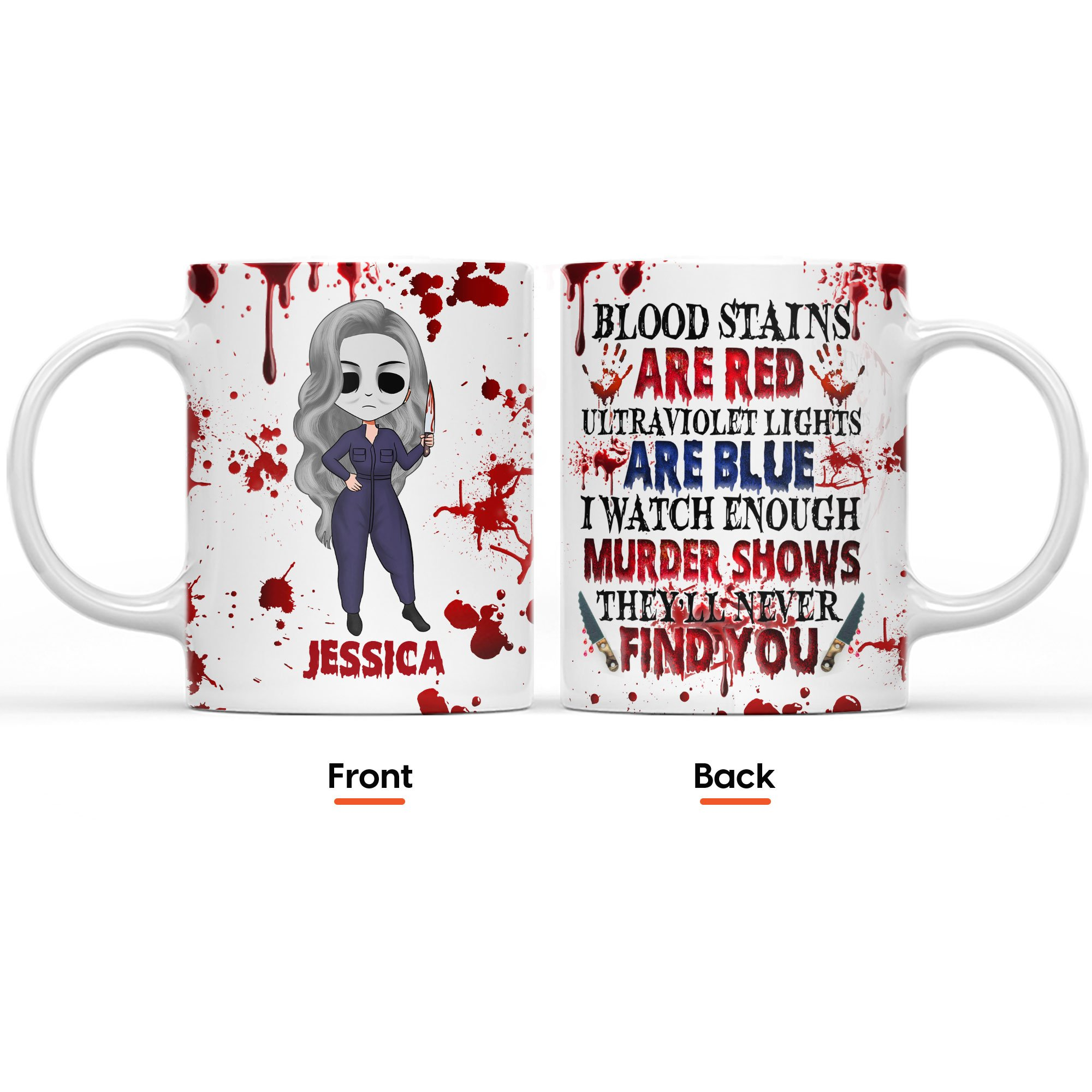 Blood stains are red ultraviolet light are blue I Watch Enough Murder Shows girl Halloween custom name mug 1.1