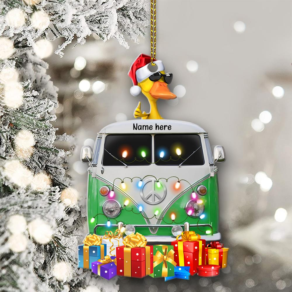 Camping Yellow Duckies custom Personalized Christmas Ornament 1