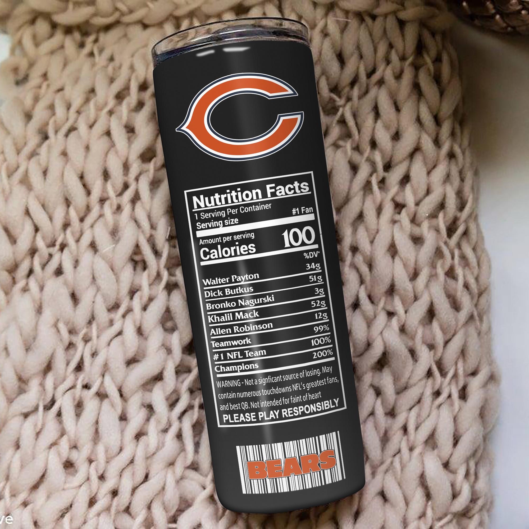 Chicago Bears Skinny Tumbler 1