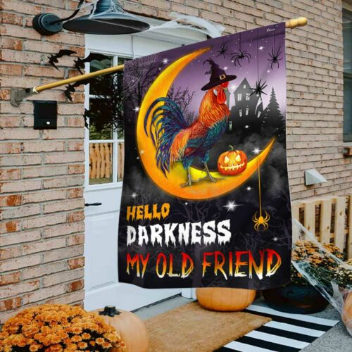 Chicken witch pumpkin moon Hello Darkness My Old Friend flag 1